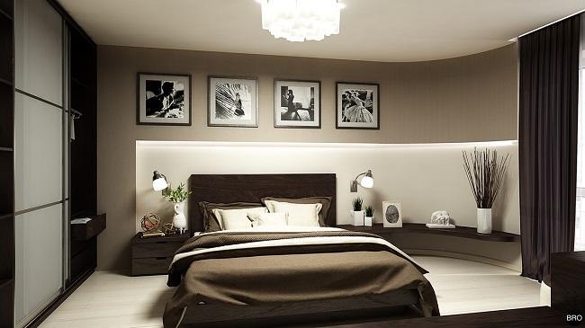 7-dormitor minimalist cu pardoseala alba si mobilier culoare nuc