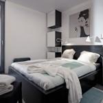 7-dormitor modern minimalist in alb si negru casa mica 37 mp FreeDomky