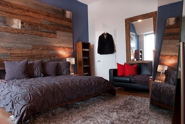 7-dormitor modern urban cu un perete placat cu scanduri vechi din lemn
