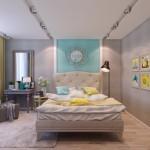 7-dormitor pereti gri si accente colorate bleu si galbene