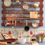 7-etajera suport ustensile de gatit bucatarie din palet de lemn