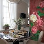 7-fototapet imprimeu floral decor bucatarie amenajata stil clasic