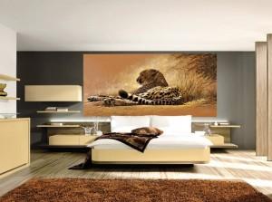 7-fototapet incadrat de rafturi si dulapuri perete dormitor modern