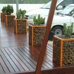 7-gabioane decorative pentru terasa din plasa sudata si pietre de rau