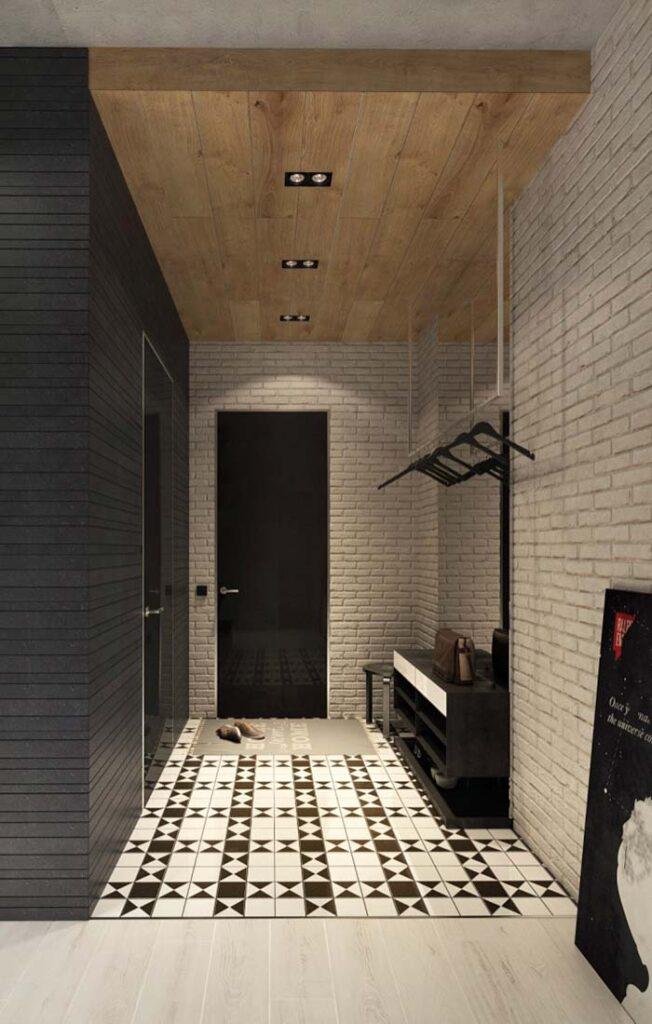 7-hol modern placat cu caramida aparenta alba