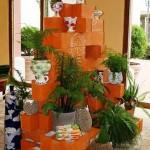 7-idei aranjament floral din blocuri de beton prefabricate vopsite