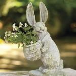 7-iepuras ceramic suport de flori si decoratiune pentru gradina
