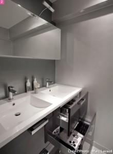 7-lavoare din acril cu masti negre cu sertar decor baie moderna