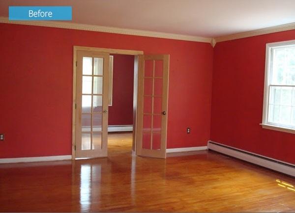 7-living cu pereti rosii spatiu obositor inainte de renovare