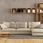 7-living modern cu biblioteca masuta de cafea canapea covor si lampadar cu picior inalt