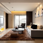 7-living modern minimalist cu covor si draperii maro