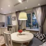 7-loc de luat masa bucatarie mica apartament deschisa spre living decor scandinav