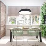 7-loc de luat masa modern cu perete finisat cu caramida aparenta