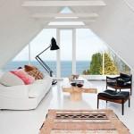 7-mansarda finisata in alb in care a fost amenajat un living minimalist