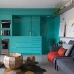 7-mobilier turcoaz bucatarie moderna open space apartament Sao Paolo
