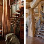 7-modele scari interioare design rustic din lemn si fier forjat