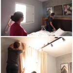7-montarea draperiilor si tablourilor pe perete dormitor