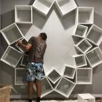 7-montarea pe peretel a cuburilor in forma unei inflorescente