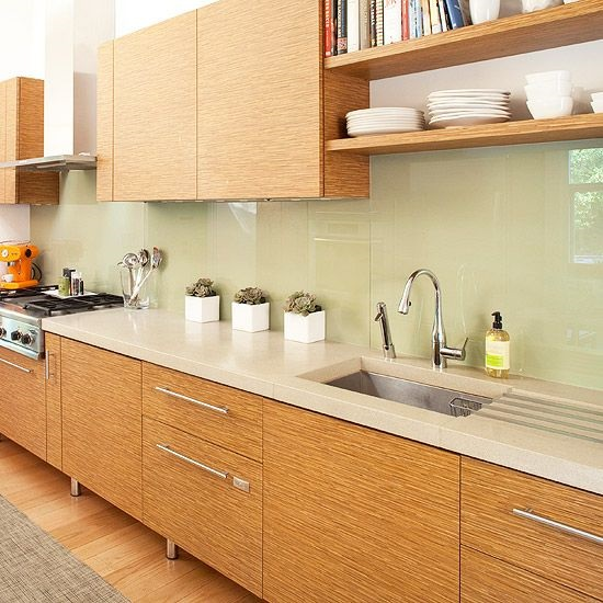 7-panou din sticla colorata verde ou de rata decor bucatarie moderna mobilier imitatie lemn