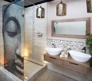7-paravan decorativ cu imprimeu cabina de dus baie moderna frumoasa