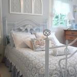 7-pat din fier forjat vopsit in alb decor dormitor shabby chic