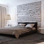 7-perete de la capul patului din dormitor finisat cu scanduri din lemn