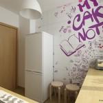 7-perete decorat cu tapet cu imprimeu grafic mov bucatarie moderna mica