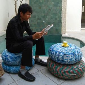 7-perne decorative de podea confectionate din pungi de plastic reciclate