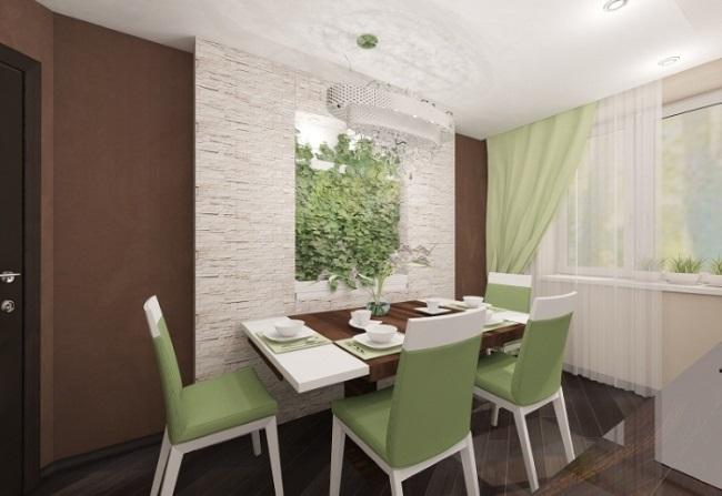 7-propunere decor perete loc de luat masa bucatarie cu plante verzi
