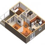 7-randare 3d casa mica din lemn cu prispa pentru parinti si bunici Birchwood Cottage