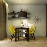 7-scaune galbene masa si finisaje maro bucatarie moderna 9 mp