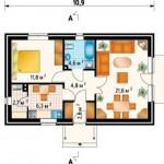 7- schita compartimentare interioara casa mica 54 mp doar parter cu 1 dormitor