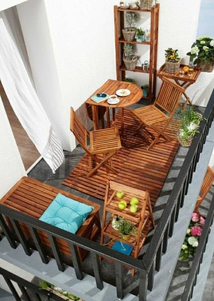 7-set mobilier din lemnin amenajarea balconului