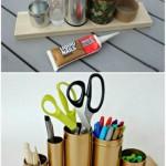 7-suport handmade pentru rechizite de birou din cutii de conserve