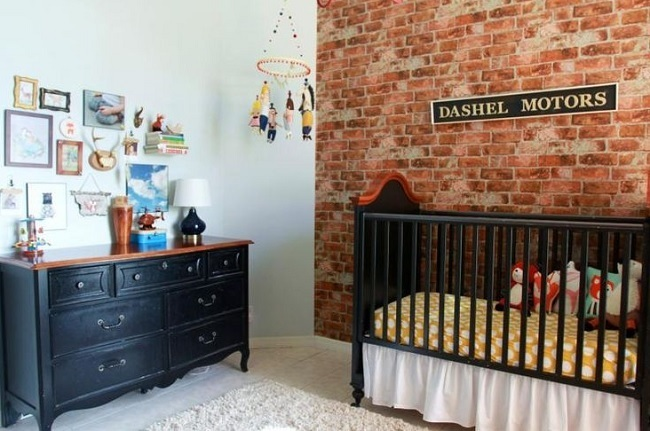 7-tapet decorativ cu imprimeu de caramida decor perete camera copil