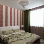7-varianta 2 amenajare dormitor 12 mp cu doua modele de tapet cu imprimeu rosu