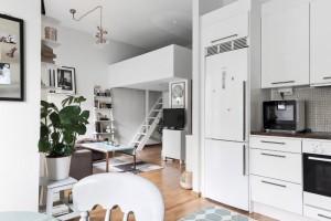 7-vedere din bucatarie in livingul alaturat cu dormitor construit intr-un loft