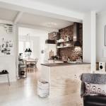 7-vedere din living spre bucatarie open space finisata cu caramida aparenta