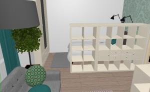 7-vedere din zona de living in zona de dormit a garsonierei