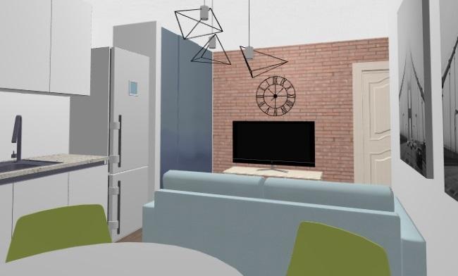 8-Vedere din locul de luat masa spre TV si usa de intrare