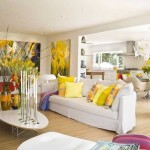 8-accente decorative galbene si violet decor living modern alb