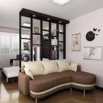 8-amenajare garsoniera moderna separare dormitor de living cu ajutorul unei etajere