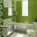 8-baie moderna amenajata si decorata in verde si alb
