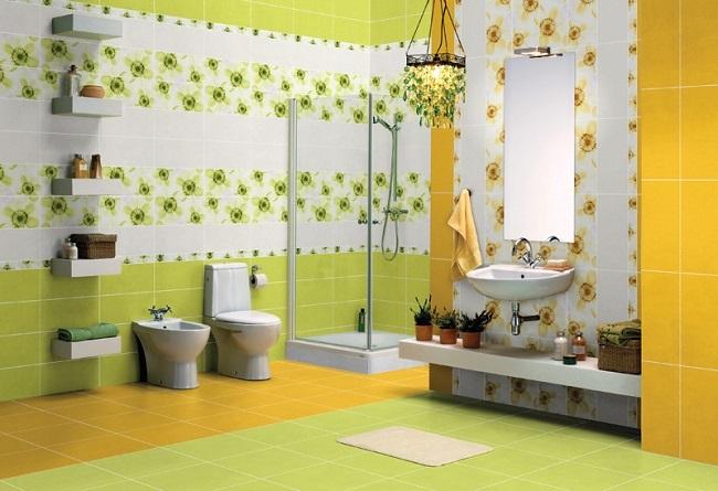 8-baie moderna decorata in alb vernil si galben