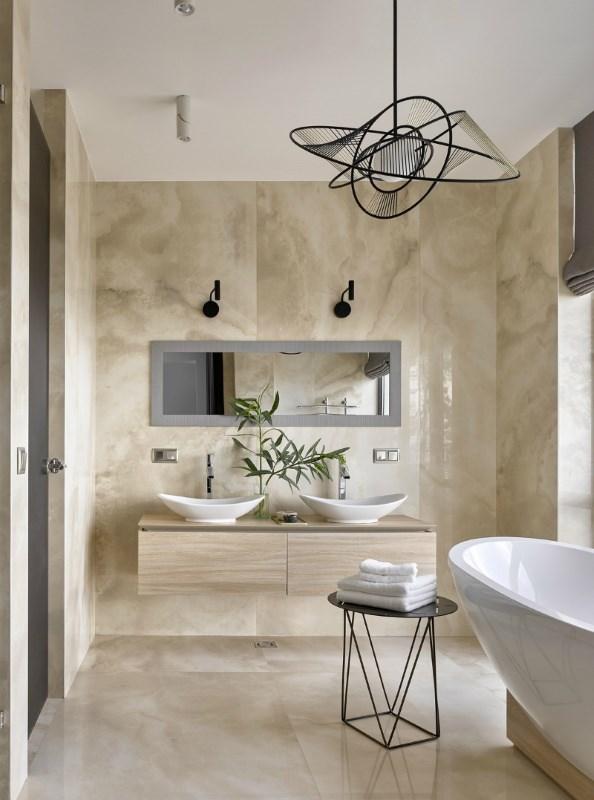 baie moderna pardoseala pereti piatra naturala