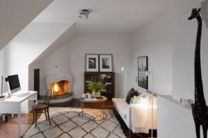 8-birou cu semineu apartament cu 4 camere din Stockholm