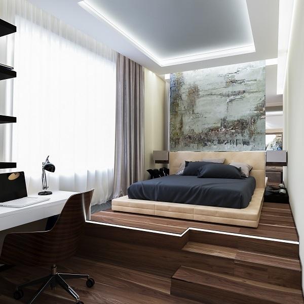 8-birou si bormitor pe platforma inaltata amenajare apartament modern semidecomandat