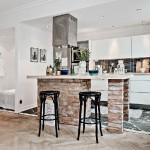 8-bucatarie open space cu insula din caramida bruta decor garsoniera apartament 42 mp