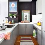 8-bucatarie open space cu mobila gri pe 3 laturi