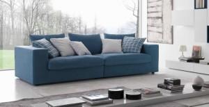 8-canapea albastra design modern cu spatar jos